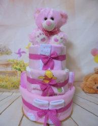 diapercake χαρουμενο αρκουδακι ροζ