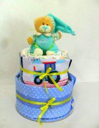 diapercake 2όροφο για αγόρι