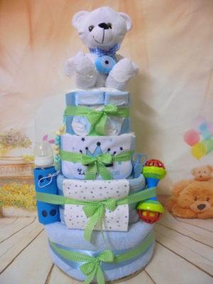 Diaper cake τουρτα με πανες καλοτυχο αρκουδακι
