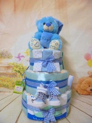 Diapercake Μπλε αρκουδακι