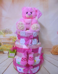 Diapercake Ροζ αρκουδακι
