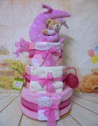 Diaper cake καληνύχτα φεγγαράκι ροζ