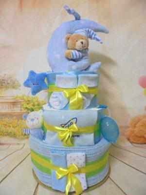 diaper cake καληνυχτα φεγγαράκι μπλε