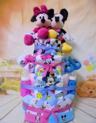 4όροφη μωρότουρτα για δίδυμα baby twins Minnie & Mickey