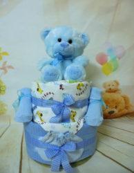 2όροφη μωρότουρτα cute teddy bear blue