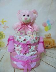 2όροφη μωρότουρτα cute teddy bear pink