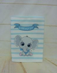 υφασμάτινη θήκη για το βιβλιάριο υγείας του μωρού baby elephant (blue)