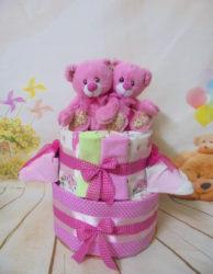 μωρότουρτα για δίδυμα κοριτσια 2όροφη