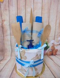 Tea towel cake bluebeige